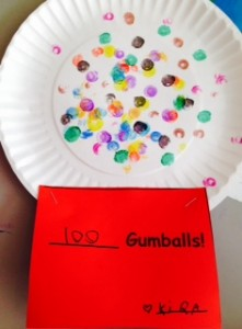 We used bingo dabbers to fit 100 gum balls into our gum ball machine!